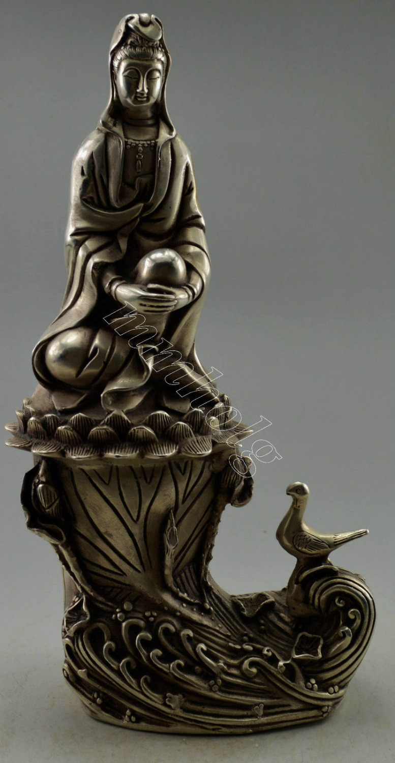 Collectible Decorated Old Tibet Silver Carved Kwan-yin On Ocean Wave Bird StatueCollectible Decorated Old Tibet Silver Carved Kwan-yin On Ocean Wave Bird Statue