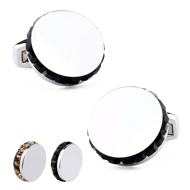 Round Rhodium Plated With Copper Shinny Surface Metal Side Black Crystal Fashion Accessories Shirt Cuff Links Men Jewelry