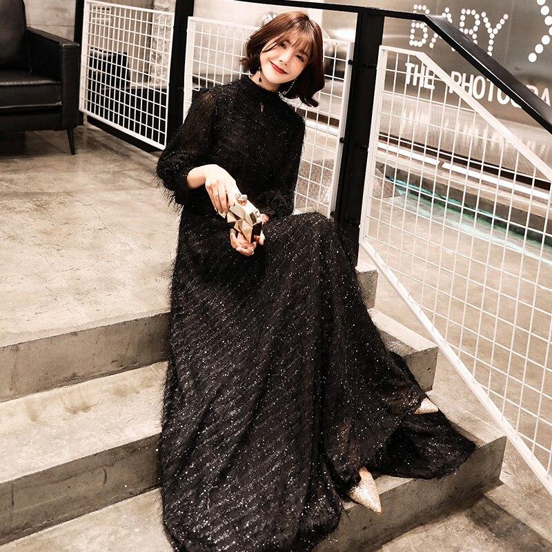 weiyin 2019  Black Long Sleeves A-line Evening Dresses Muslim Fashion Elegant Women Party Dress Long Formal Dresses WY1265