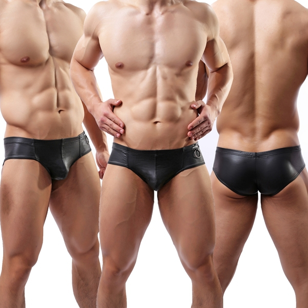 Aliexpress.com : Buy Sexy Faux Leather Men's Boxer Shorts ...