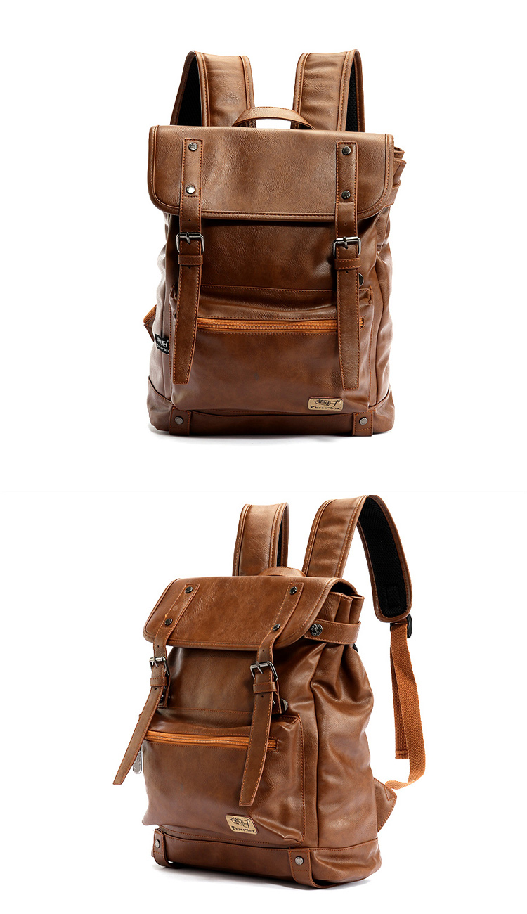 two photos of backpack made with leather with vintage design in brown