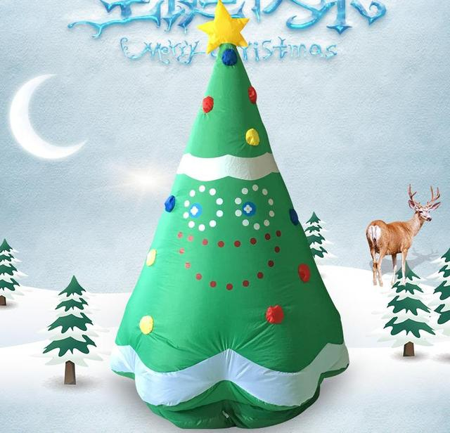 160cm giant inflatable christmas tree led lighted toys with fan new year weedding party props yard - Lighted Christmas Tree Yard Decorations
