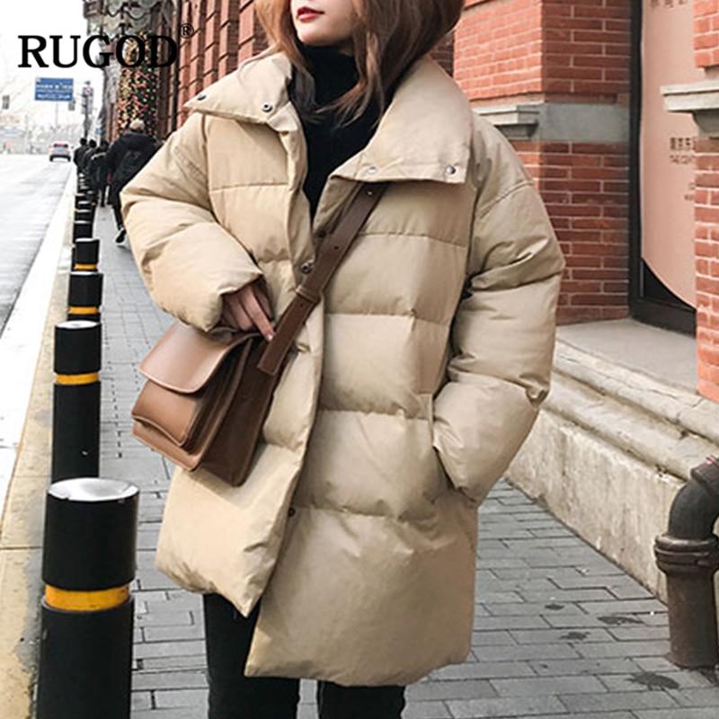 RUGOD Longo Casaco de Neve Desgaste de Algodão Mulheres Manga Longa Casaco Grosso Sólidos Casual Zipper Topos Mulheres Roupas de Inverno Quente casaco feminino