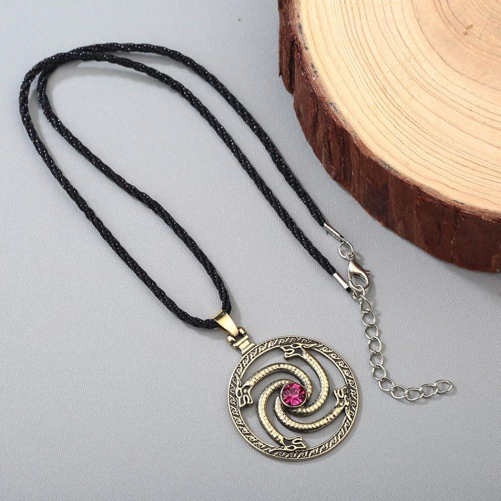 CHENGXUN Norse viking dragons pendant Necklace Men Red Stone Amulet ...