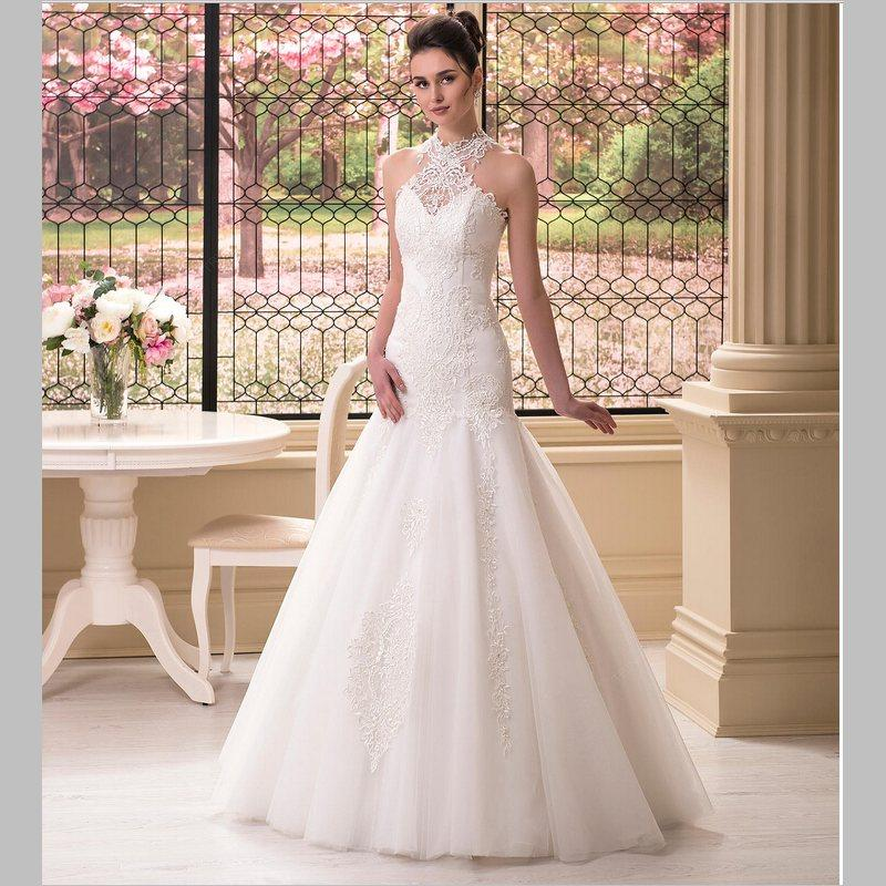 Top Quality Mermaid Halter Wedding Dress Floor Length