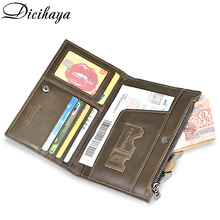 DICIHAYA Genuine Leather Passport Cover ID Business Card Holder Travel Credit Wallet for Men Zipper Purse Driving License Bag