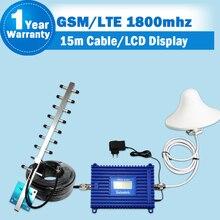 Conjunto completo GSM 1800 4G FDD LTE 1800 repetidor celular Mobile Signal Booster pantalla LCD 1800 MHz ALC función amplificador  LTE repetidor de señal de teléfono celular 2g 4g amplificador con antena yagi exterior