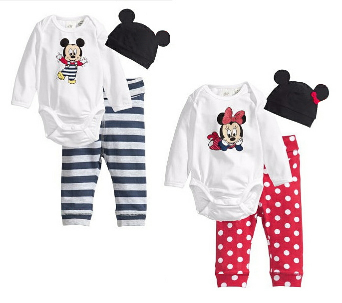 Minnie Mouse Cartoon Newborn Kids Baby Sets Boy Girl Unisex Infant Romper +Hats+Pants 3pcs Outfit Long Sleeve