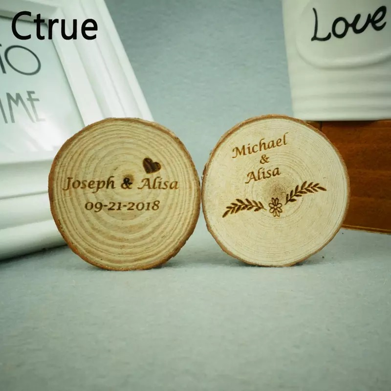 Custom Personalized 5cm Save The Date DIY WOOD LOG Wood Gift Tags Wedding Mariage Bridal Shower Favor Party Table Rustic