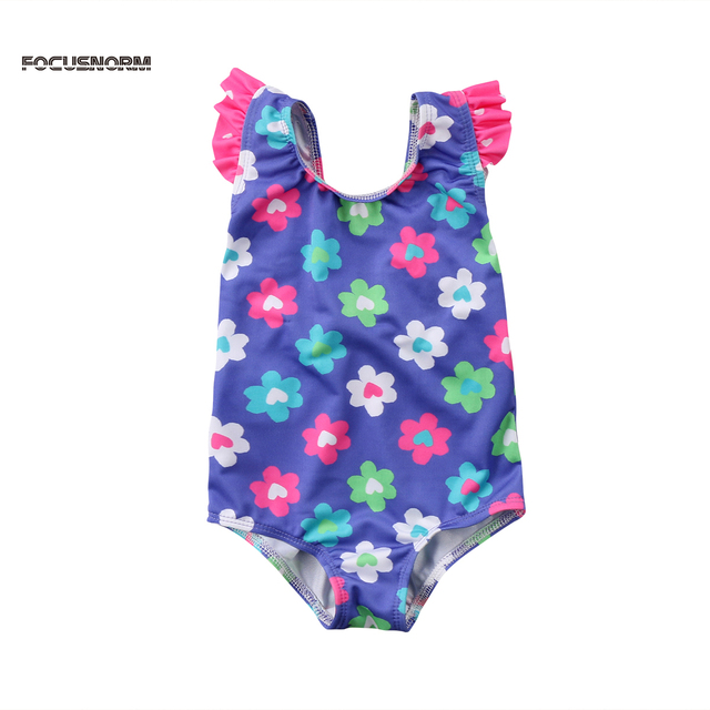 Floral Baby Girls Swimsuit Sunsuit Bow Backless Swimming Costume One