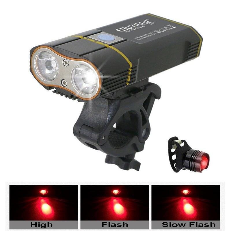 6000LM Luz de bicicleta 2x XML-L2 Luz de bicicleta LED con batería recargable USB Luz delantera de ciclismo + Soporte para manillar
