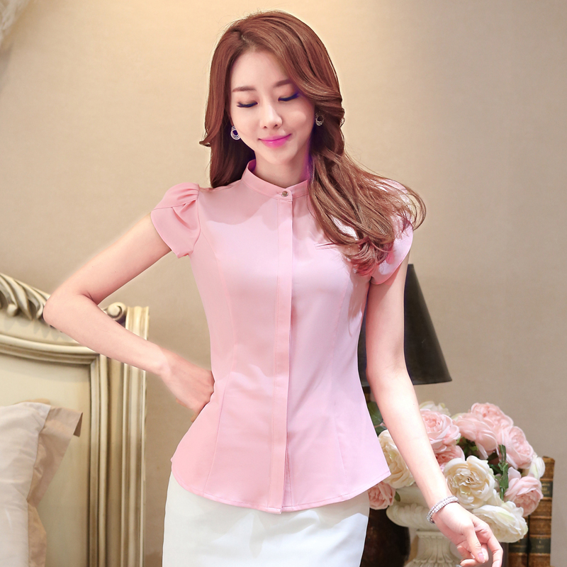 Women Shirts Office Lady Blouse Tops Plus Size Summer Womens Tops And Blouses Fashion Korean Shorts Sleeve Top Blouses For Woman