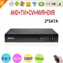 Hi3521A Chip Xmeye Metal Case 1080N 16 Channel 16CH 2 SATA Surveillance Wifi Hybrid HD IP TVi CVI NVR AHD CCTV DVR Free shipping