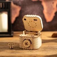 Robotime DIY Vintage Storage Bin Treasure Box Wooden Organizer Jewelry Container Home Room Decor for Anniversary Gift LK502