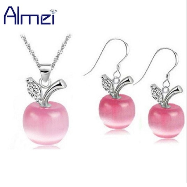 Almei 49% off Green Pink Silver Color Earrings Women White Crystal Jewelry Sets Red Necklace Blue Stone Set Female Gifts YL007