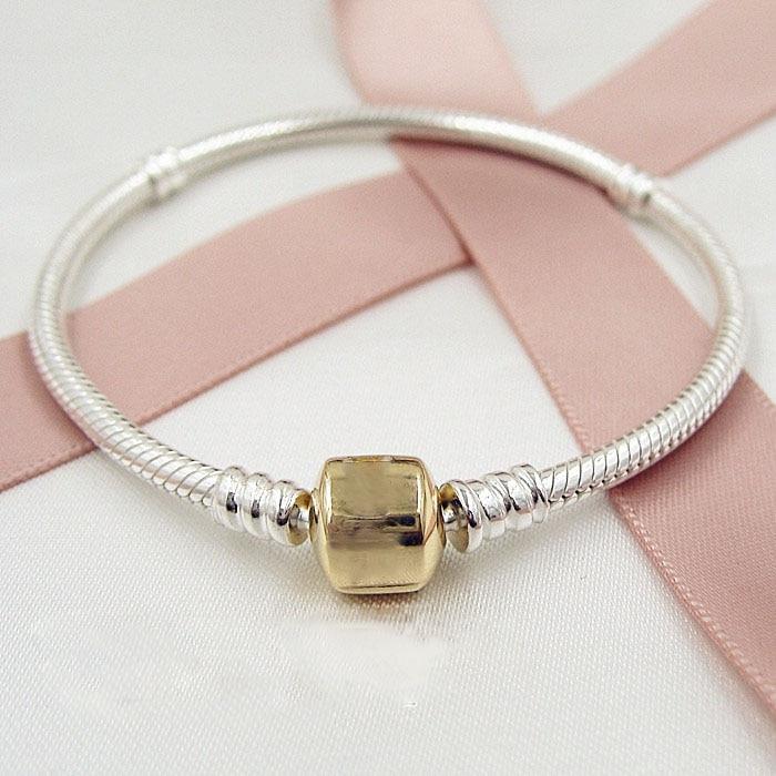 Bracelets pour bijoux de style européen Original 925 en argent Sterling clip Bracelet bricolage faisant des charmes bijoux de mode réel KK668