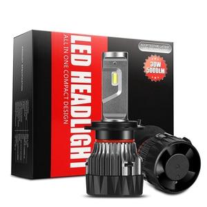 Мини Автомобильный головной светильник H4 12 в 24 В H4 светодиодный H7 H1 H3 H11 H13 HB2 HB4 HB5 9004 9005 9006 9007 60 Вт 5000LM автоматический налобный фонарь рабочий с...