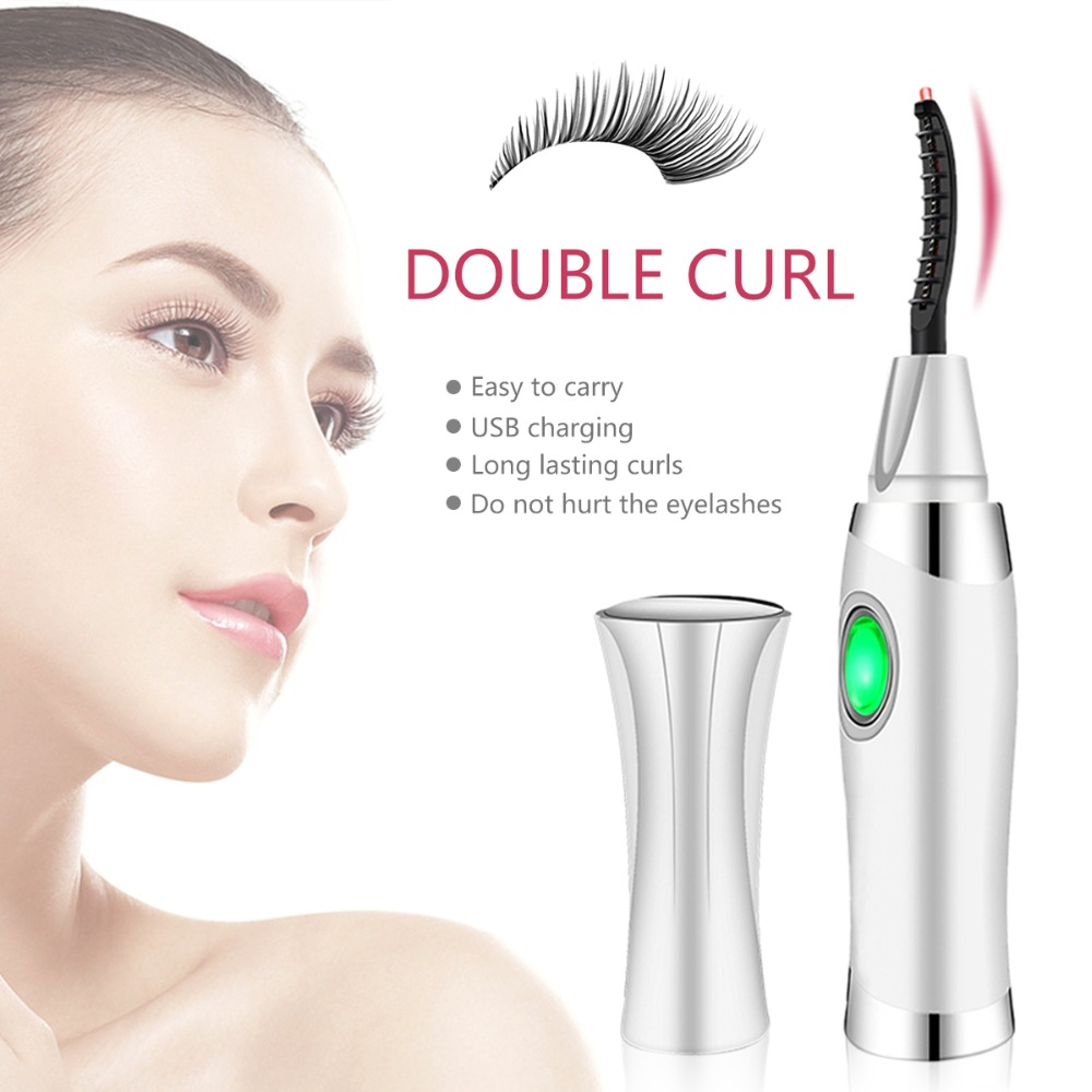 Cosqueen Electric rotating Heated Eyelash Curler Natural Curling Eyes Lashes Long Lasting Heated Roll Eyelash Beauty Makeup Tool plastic handle compact eyelash curler