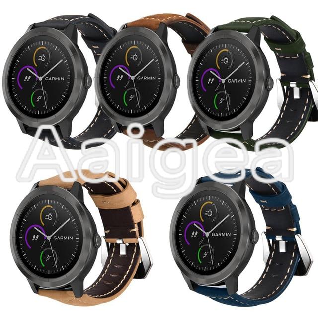 מטורף סוס עור אמיתי רצועת שעון החלפה עבור Garmin Vivoactive 3 עם קלאסי כסף מוצק אבזם watchbands איש