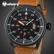 Infantry analógica 24 horas fecha de hombre relojes reloj de los hombres de la marca de lujo gran dial de reloj de cuarzo relogio masculino del negocio del cuero genuino