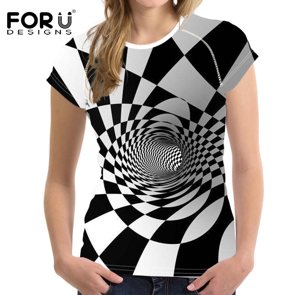 FORUDESIGNS t shirt Women Wonder Woman T 3D Printing Vortex Grid Tshirt White and Black Tops Femme t-shirt Vogue