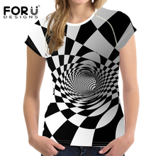 FORUDESIGNS t shirt Women Wonder Woman T 3D Printing Vortex Grid Tshirt White and Black Tops Femme t-shirt Vogue