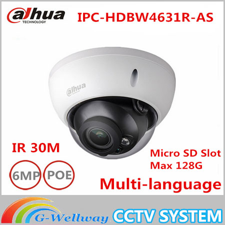 где купить 6MP Dahua H.265 DH-IPC-HDBW4631R-AS IP Camera IR 50M Built-in microphone Support POE SD network camera replace IPC-HDBW4631R-AS дешево