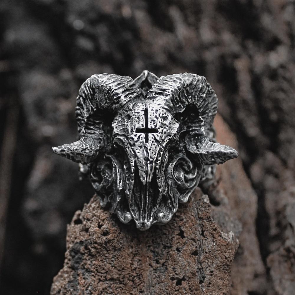 Unique Punk Gothic Satanic Demon Sorath Skull Ring Men 316L Stainless Steel Biker Ring Baphomet Jewelry Gift