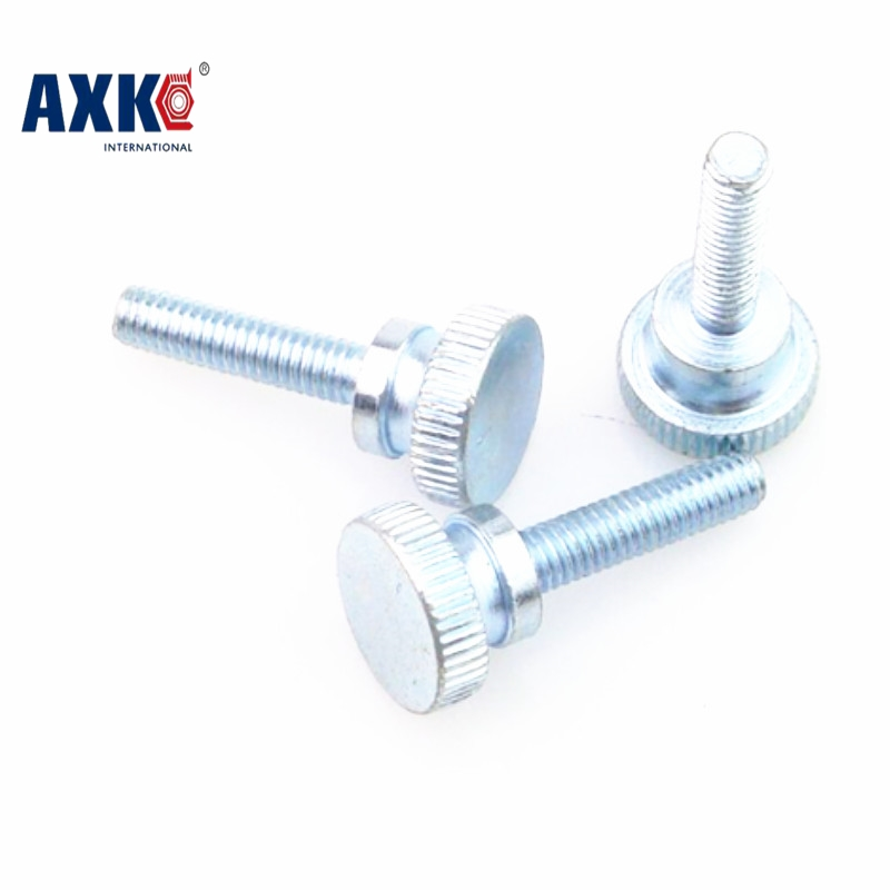 цена на AXK 10pcs GB834 M5 Carbon Steel thumb screw with collar round head with knurling manual adjustment screws bolt  M5*(8/10/12~35