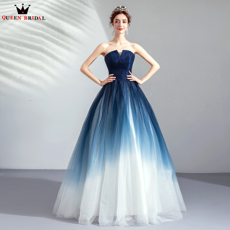Ball Gown Strapless Blue White Tulle Evening Dresses 2019 New Fashion Evening Gowns JK06M