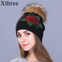 Xthree Female Winter Hat Knitted Beanie Hat For Women Sequins Embroidery Real Fur Pom Pom Wool