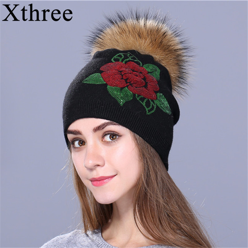 Xthree Female Winter Hat Knitted Beanie Hat For Women Sequins Embroidery Real Fur Pom Pom Wool Hat Skullie Girls Gorro Cap
