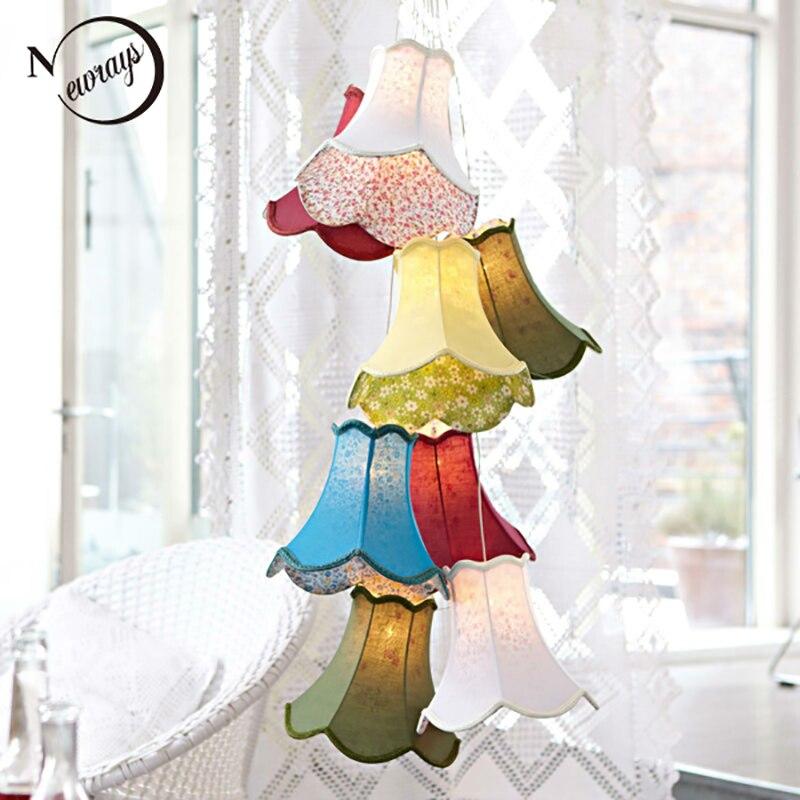 Colorido moderno tecido abajur levou luzes pingente lustre lâmpadas luzes G4 8 Cabeças retro menina DIY crianças quarto sala de estar