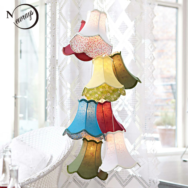 Moderne Bunte Stoff Lampenschirm Led Anhanger Lichter Glanz Lampen