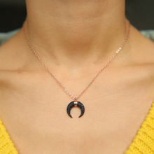 fashion jewelry copper brass top quality micro pave cz moon pendant black gold color fashion ladies gold necklace