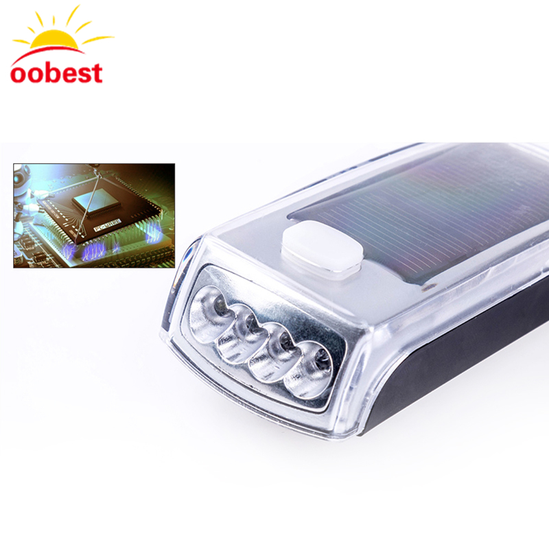 oobest Solar Powered Bike Front Light 4 LED Mountain Bicycle Solar Headlamp USB Rechargeable Waterproof Cycling Light