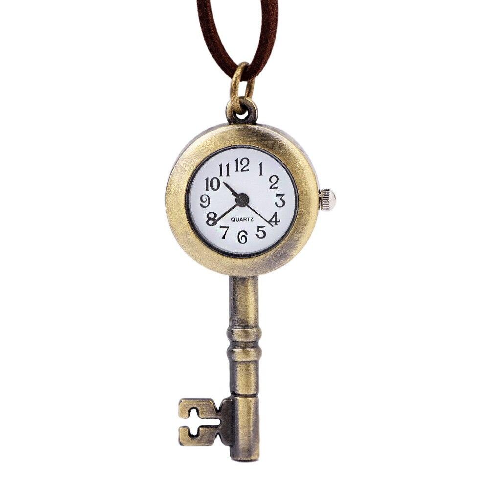 Antique Quartz Pocket Watch Men Women Bronze Vintage Open Face Leather Pocket Watch Chain Relogio de bolso Necklace key Pendent