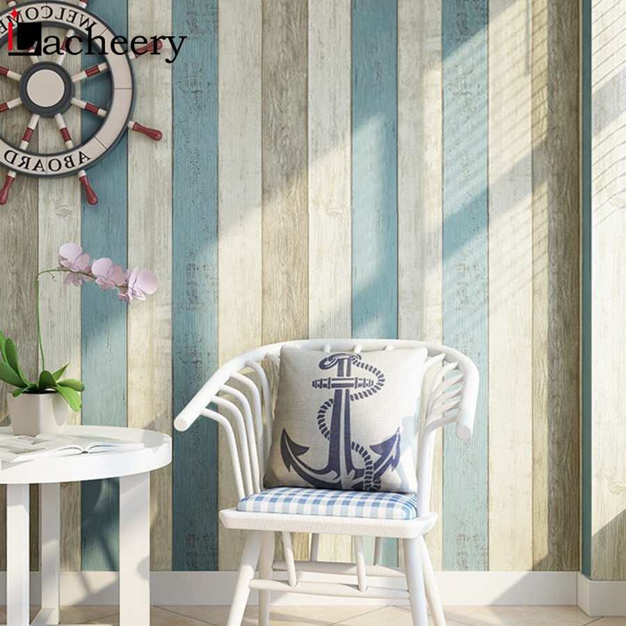 0.6m*3m Mediterranean Style Vertical Stripe Self Adhesive Wallpaper Rolls For Living Room Bedroom Decor Waterproof Contact Paper