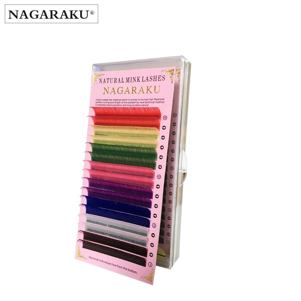 NAGARAKU 5 cases set 16rows/case high-quality mink eyelash extension colour lashes colorful lashes rainbow color blue red
