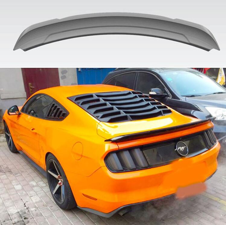 ABS PAINT CAR REAR WING TRUNK LIP <font><b>SPOILER</b></font> FOR 15-20 Ford <font><b>Mustang</b></font> <font><b>2015</b></font> 2016 2017 2018 2019 2020 GT350 BY EMS image