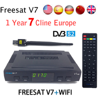 Genuine Freesat V7 HD Satellite Receiver Full 1080P 1PC USB WiFi DVB S2 HD Support