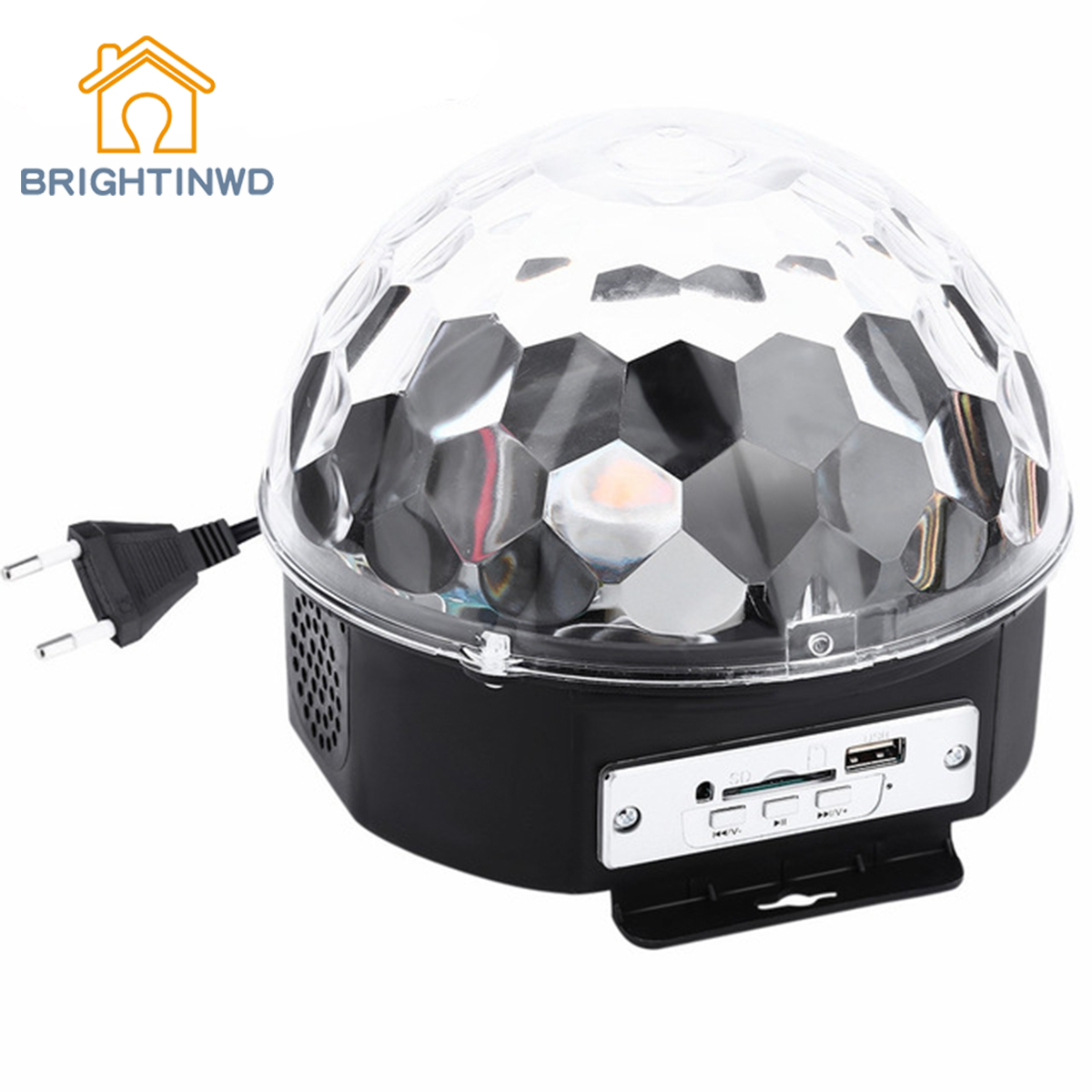 BRIGHTINWD RGB LED Magic Crystal Ball Lamp Disco Light Laser Wedding Party Lamp 6 LEDs RGB Premium Sound Control Stage Light new d19 sound activated 5w 48 led rgb crystal magic sunflower light white