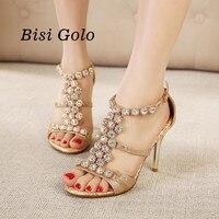 New Beautiful Women Sandals High Heels Summer Shoes Peep Toe Gold Gladiator Sandals Women Sexy T