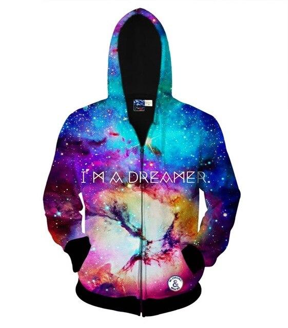 AM A DREAMER space galaxy zipper jacket for men/women 3d sweatshirt autumn hoody lovely hooded hoodies Asia size S-XXL