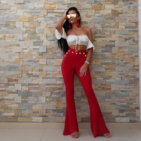 High Quality Women Pants Red White Black Solid Gold Button Flare Bandage Pants Hot Sale