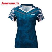 Kawasaki, спортивная одежда для бадминтона, футболки для женщин, v-образный вырез, дышащий синий цвет, теннисная Спортивная футболка, ST-S2110