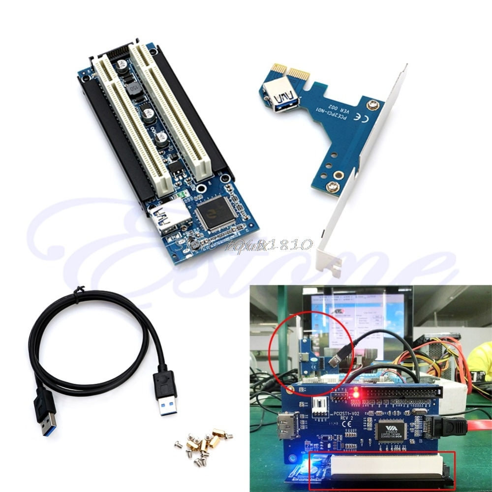 <font><b>PCI</b></font>-E <font><b>Express</b></font> X1 to Dual <font><b>PCI</b></font> Riser Extend Adapter Card With <font><b>USB</b></font> <font><b>3.0</b></font> Cable 2.6 FT Whosale&Dropship image