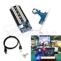 PCI-E Express X1 to Dual PCI Riser Extend Adapter Card With USB 3.0 Cable 2.6 FT Whosale&Dropship