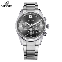 MEGIR Brand Men Chronograph Multifunction Military Watch Function Silver Color Full Steel Luxury Watches Army Watch