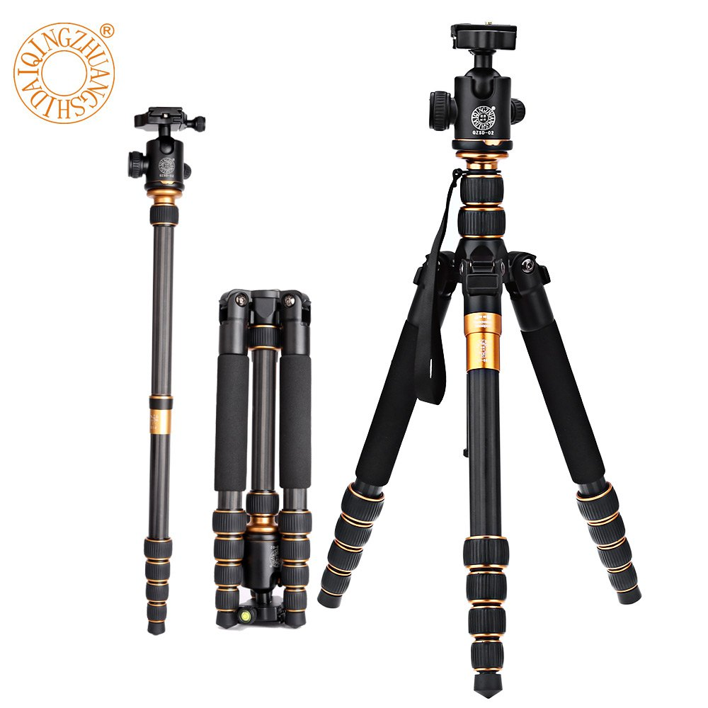 QZSD Q666C Professional Carbon Fiber Tripod Monopod For Travel DSLR Camera Light Compact Portable Stand 15kg Max Load